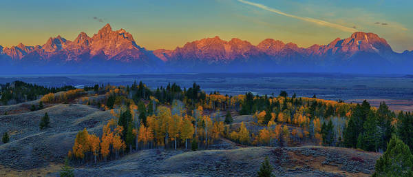 Photograph - Teton Range Autumn Alpenglow Panorama by Greg Norrell