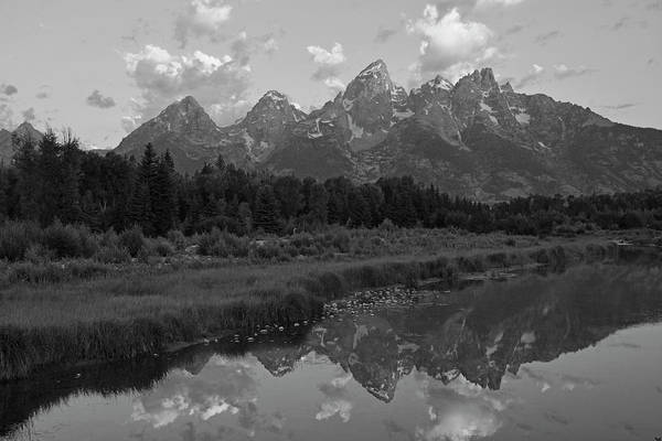 Photograph - Tetons Reflectioat Schwabachers Landing Black And White by Bruce Gourley