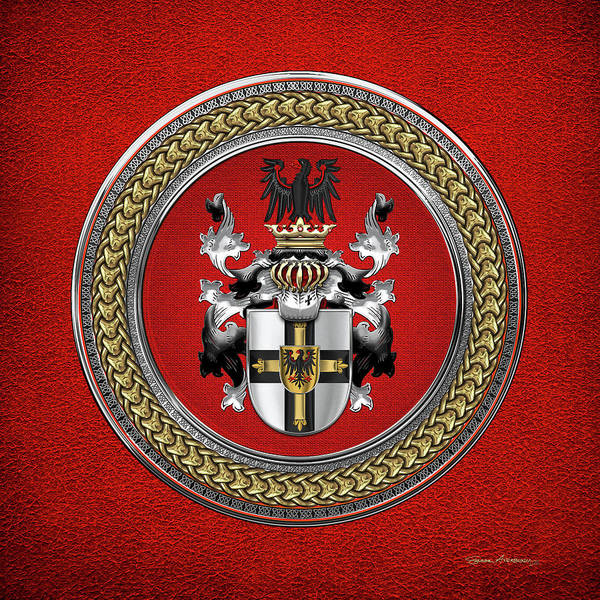 Digital Art - Teutonic Order - Coat Of Arms Special Edition Over Red Leather by Serge Averbukh