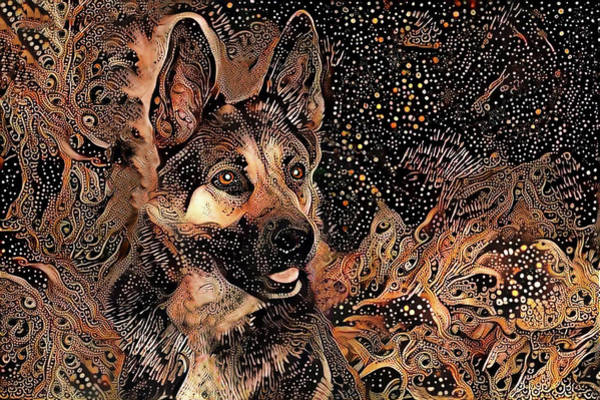 Digital Art - Tex The German Shepherd Dog by Peggy Collins