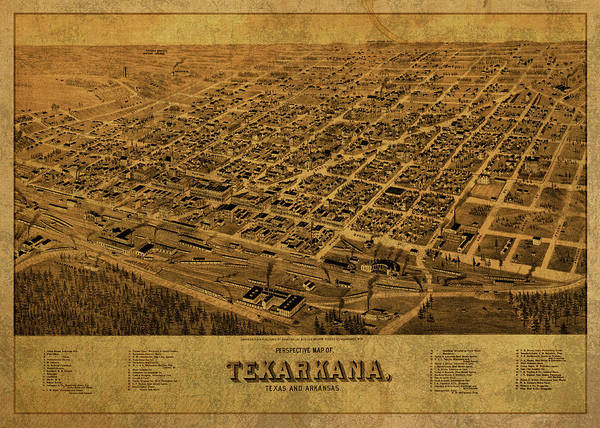 Arkansas Mixed Media - Texarkana Texas Arkansas Vintage City Street Map 1888 by Design Turnpike