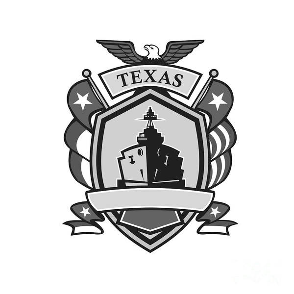 Grayscale Digital Art - Texas Battleship Badge Grayscale by Aloysius Patrimonio