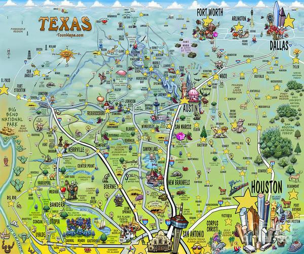 Digital Art - Texas Big Fun Map by Kevin Middleton