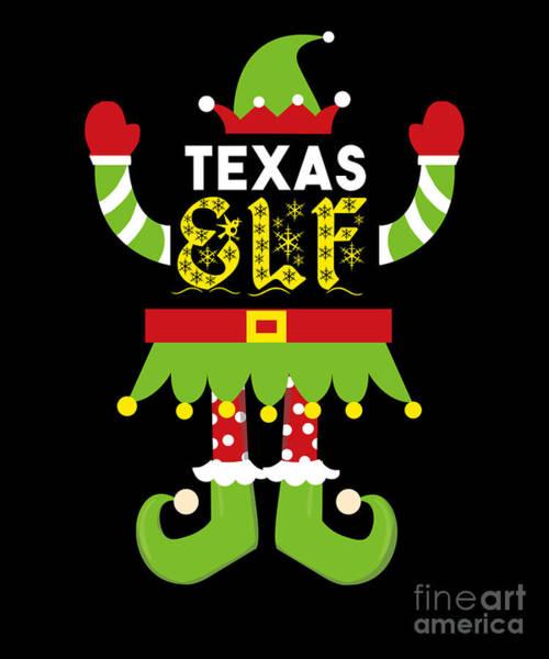 Ugly Digital Art - Texas Elf Xmas Elf Santa Helper Christmas by TeeQueen2603