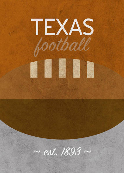 Wall Art - Mixed Media - Texas Football Minimalist Retro Sports Poster Series 013 by Design Turnpike