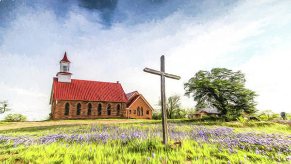 Wall Art - Photograph - Texas Hill Country Church - Digital Painting by Stephen Stookey