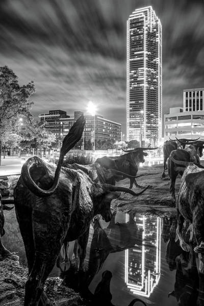 Wall Art - Photograph - Texas Longhorn Cattle Drive Sculptures And Dallas Skyline - Monochrome by Gregory Ballos