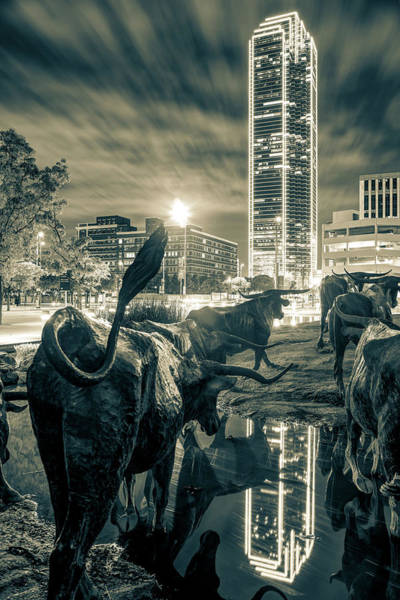 Wall Art - Photograph - Texas Longhorn Cattle Drive Sculptures And Dallas Skyline - Sepia by Gregory Ballos