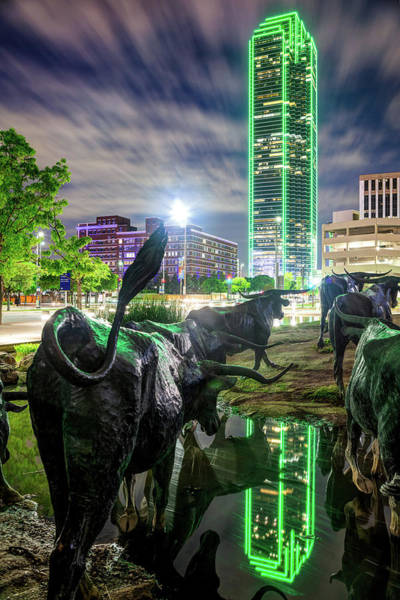 Wall Art - Photograph - Texas Longhorn Cattle Drive Sculptures And Green Giant - Dallas Skyline by Gregory Ballos