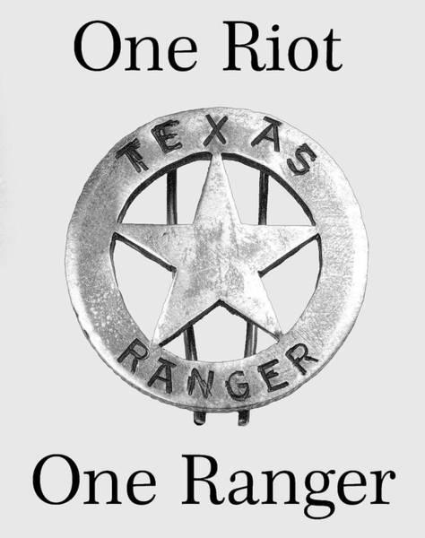 Wall Art - Digital Art - Texas Ranger Motto - T-shirt by Daniel Hagerman