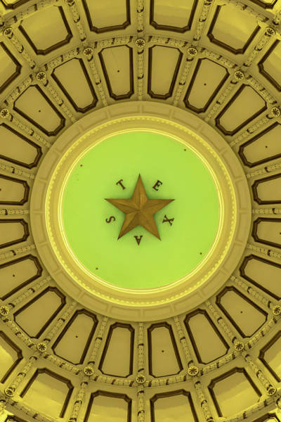 Photograph - Texas Star In The Dome Of State Capitol by Gregory Ballos