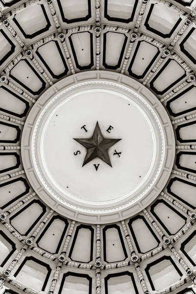 Photograph - Texas State Capitol Dome And Lone Star - Sepia Edition by Gregory Ballos