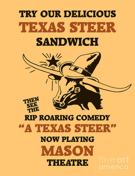Drawing - Texas Steer Sandwich by Aapshop