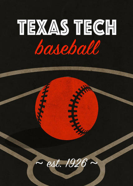 Wall Art - Mixed Media - Texas Tech Baseball College Sports Team Retro Vintage Poster Series by Design Turnpike