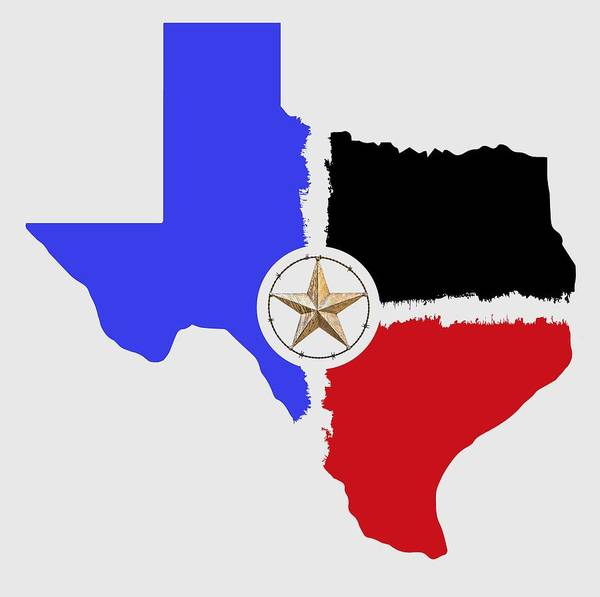 Wall Art - Digital Art - Texas Tri-color Map With Barbed Wire Lone Star - T-shirt by Daniel Hagerman