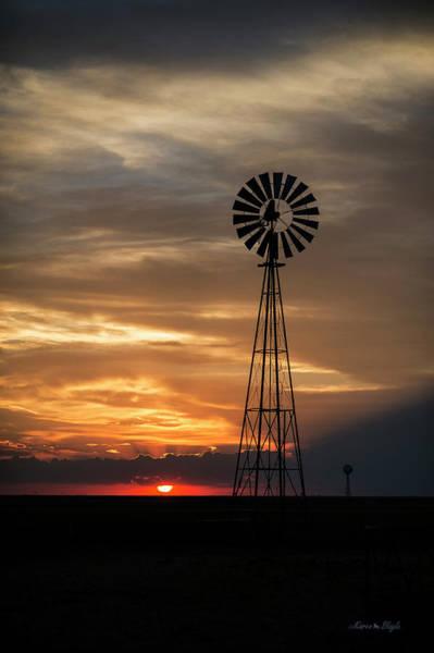 Photograph - Texas Windmill At Sunset by Karen Slagle
