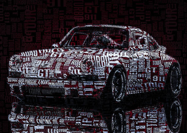 Wall Art - Digital Art - Text Art Porsche 911 by Zdenek Moravek