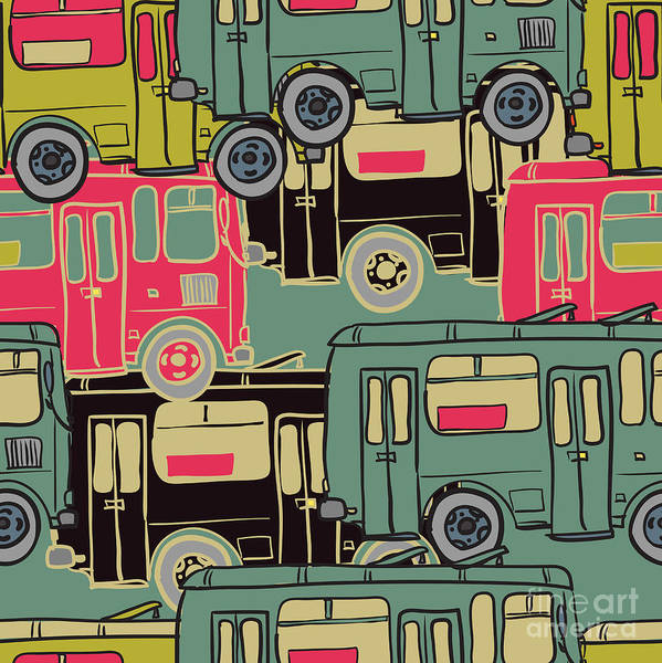 Traffic Wall Art - Digital Art - Textile Seamless Pattern Of Colored by Dark Ink
