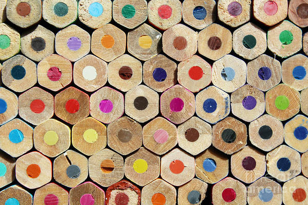 Amusing Wall Art - Photograph - Texture Of Colored Pencils by Luma Creative