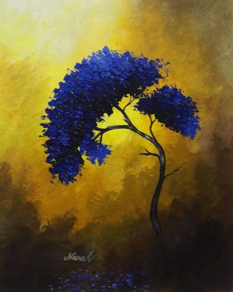 Painting - Textured Blue Tree by Manar Hawsawi