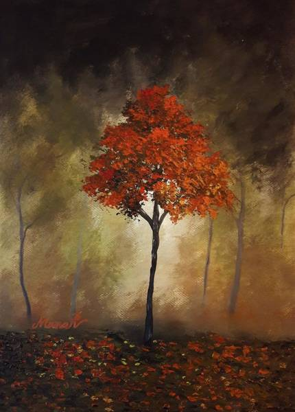 Painting - Textured Orange Tree by Manar Hawsawi