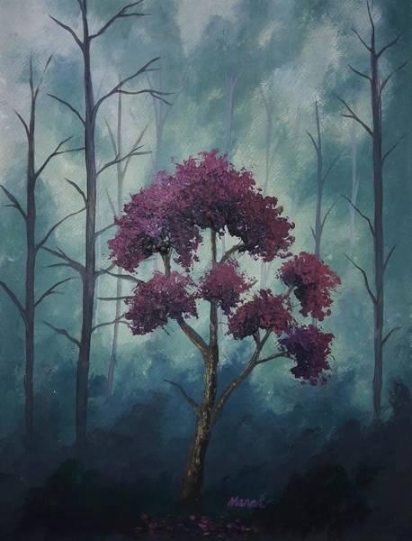 Painting - Textured Purple Tree by Manar Hawsawi