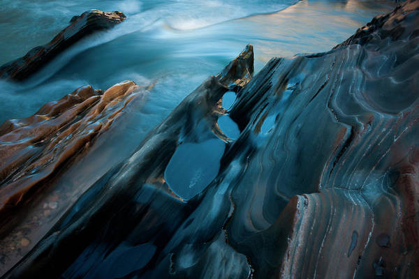 Art In Canada Photograph - Textured Rock At The Edge Of A Stream by Mint Images/ Art Wolfe