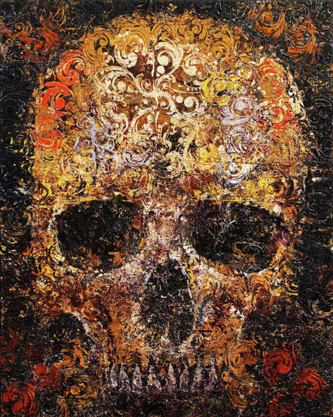 Wall Art - Painting - Textured Skull by Michael Creese