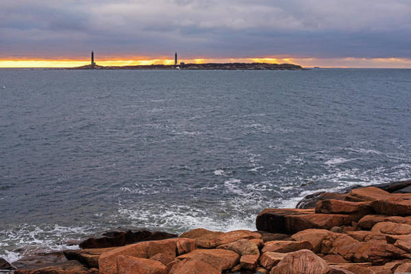 Photograph - Thacher Island Lighthouses Dramatic Sunrise Rockport Ma by Toby McGuire