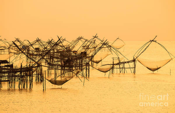 Bait Wall Art - Photograph - Thai Style Fishing Trap In Pak Pra by Take Photo