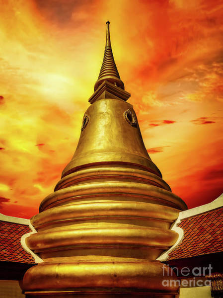 Photograph - Thai Temple Sunset by Adrian Evans