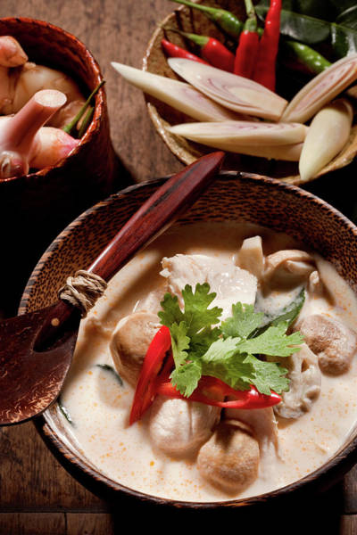 Raw Meat Photograph - Thai Tom Kha Gai Soup by Shutterworx