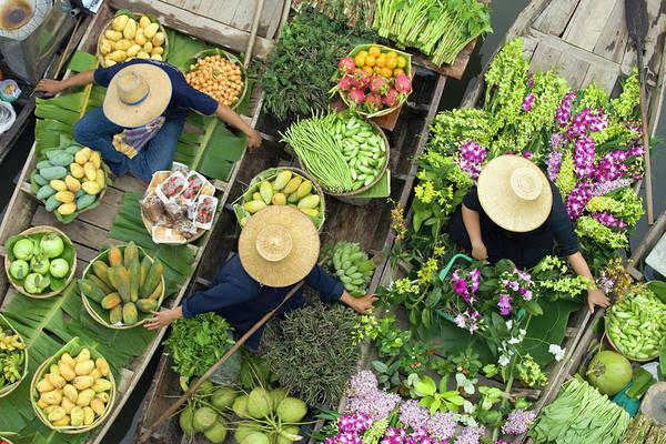 Oar Photograph - Thailand, Bangkok, Vendors In Boats At by Philip Kramer