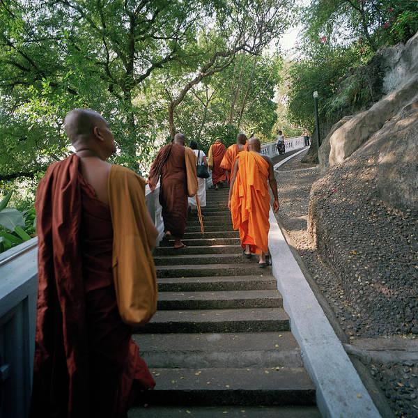 Shaved Head Photograph - Thailand, Chiang Rai, Buddhist Monks by Richard Ross