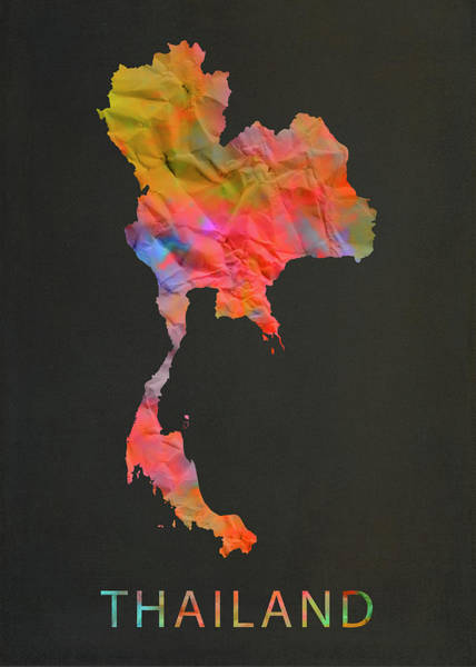 Wall Art - Mixed Media - Thailand Tie Dye Country Map by Design Turnpike