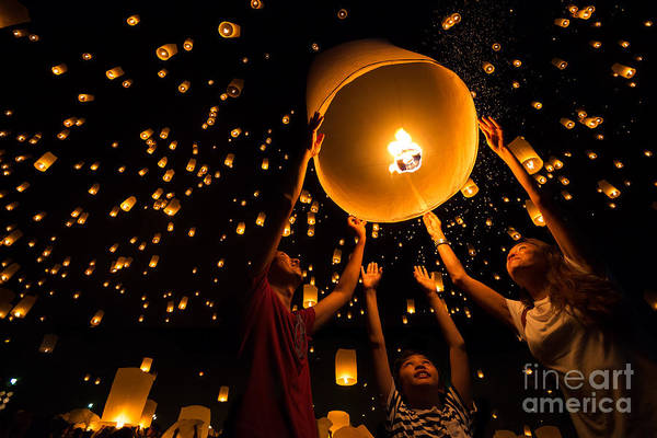 Float Wall Art - Photograph - Thais Family Release Sky Lanterns To by Patrick Foto