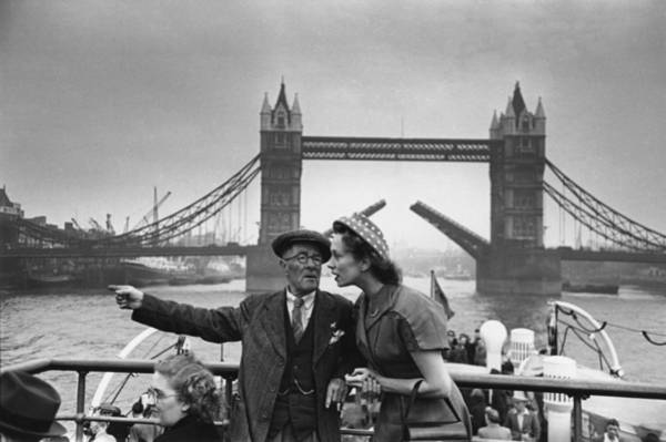 Senior Adult Photograph - Thames Boat Trip by Bert Hardy