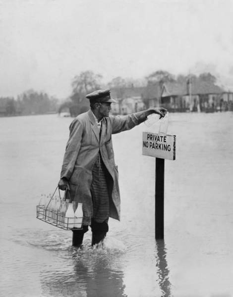 Adult Humor Photograph - Thames Floods by Fox Photos