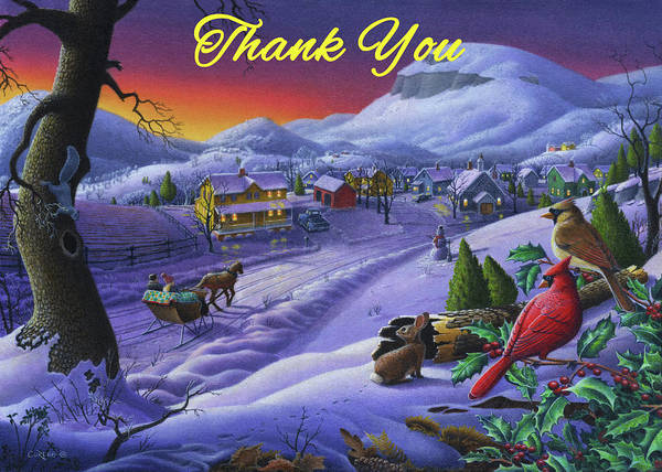 Wall Art - Painting - Thank You Greeting Card - Cardinals Animals Sleigh Ride Winter Country Landscape by Walt Curlee