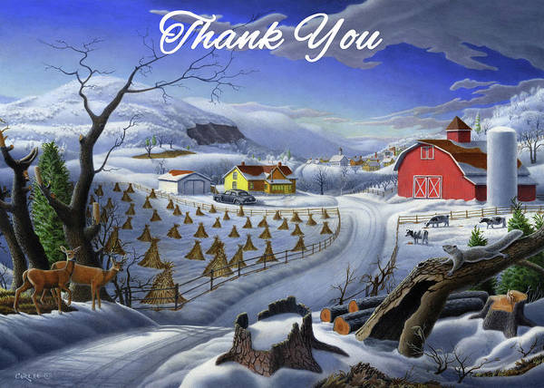 Wall Art - Painting - Thank You Greeting Card - Deer Wildlife Winter Rural Farm Landscape by Walt Curlee