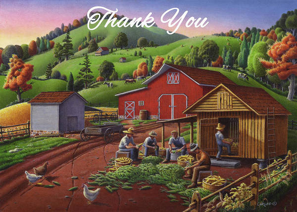 Wall Art - Painting - Thank You Greeting Card - Farmers Shucking Corn Fall Farm Landscape by Walt Curlee