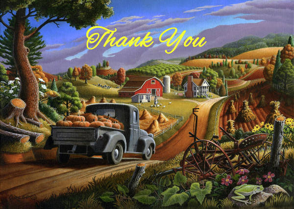 Wall Art - Painting - Thank You Greeting Card - Old Truck With Pumpkins Fall Farm Landscape by Walt Curlee