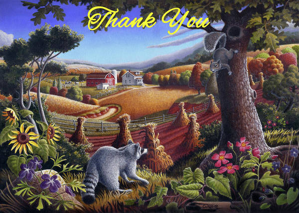 Wall Art - Painting - Thank You Greeting Card - Raccoon And Squirrel Rural Country Landscape by Walt Curlee