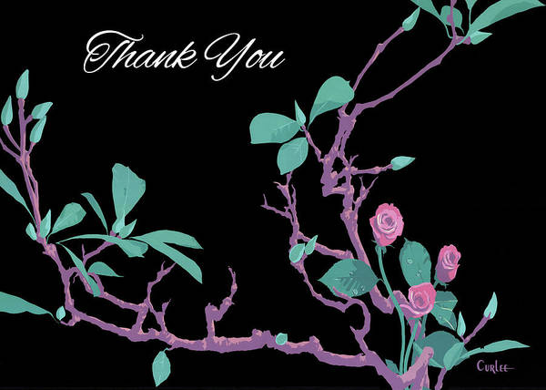 Wall Art - Painting - Thank You Greeting Card - Redbuds And Roses Floral Still Life by Walt Curlee