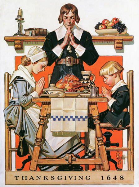 Wall Art - Painting - Thanksgiving Day 1648 - Digital Remastered Edition by Joseph Christian Leyendecker