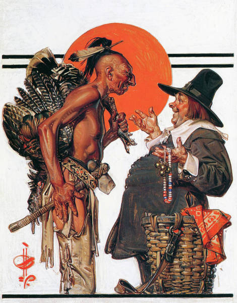 Trader Painting - Thanksgiving, Indians To Negotiate With Pilgrim - Digital Remastered Edition by Joseph Christian Leyendecker