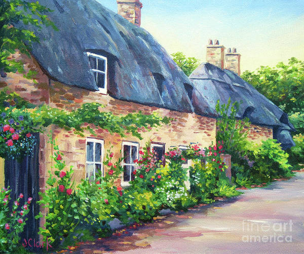 Lake District Painting - Thatched Roofs by John Clark