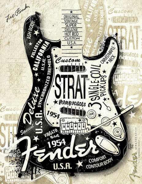 Wall Art - Digital Art - The 1954 Fender Strat by Gary Bodnar