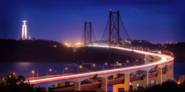 Photograph - The 25 De Abril Bridge And Christ The King Statue - Lisbon, Portugal by Nico Trinkhaus