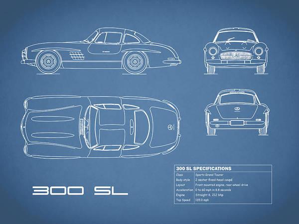 Mercedes-benz 300 Sl Wall Art - Photograph - The 300 Sl Gullwing Blueprint by Mark Rogan